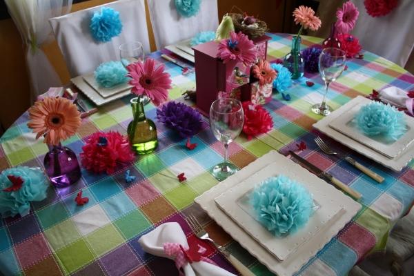D co de table th me multicolore estival for Set de table multicolore