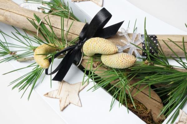 Un centre de table d 39 inspiration hivernale for Centre table bois flotte fleurs