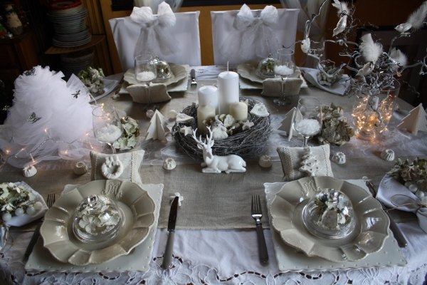 Table de no l shabby for Table de noel argent et blanc